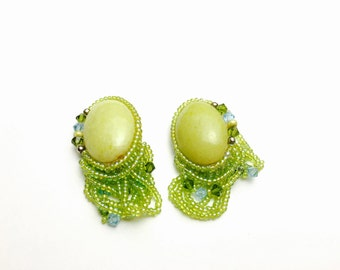 Vintage Clip On Earrings, green porcelain, beaded, Clearance SALE, Item No. B215