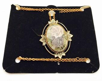 Vintage Coventry Pendant/Necklace, Gold Tone, Art Nouveau Floral Design, Painted Porcelain, Item No. B554