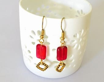Ruby  EARRINGS, gold Tone Earrings, Hand Made in the USA, Item No. B782