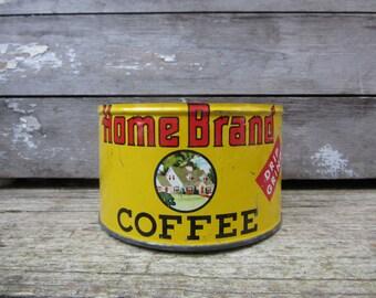 Vintage Tin Coffee Can Home Brand Coffee Minneapolis Yellow Metal Tin Storage Display Country Farm Retro Kitchen Rustic Primitive Vtg Old