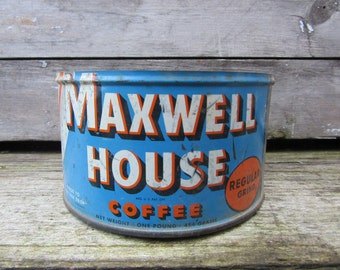 Vintage Tin Coffee Can Maxwell House Blue and Orange Kitchen Metal Tin Storage Display Country Farm Retro Kitchen Rustic Primitive Vtg Old