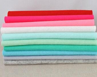 100% Wool Felt Sheets - 10 pieces - 'Christmas Cracker' colour range