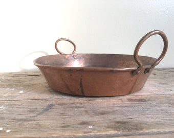 Hammered Copper baker, baking dish, with handles, aged, dented, farmhouse, rustic kitchen, pie plate