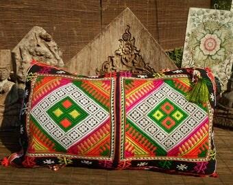 Black Hmong Vintage Textile Cushion Cover