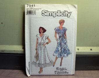 Very feminine dress in pattern Simplicity 7941 retro pattern from 1987  factory fold  uncut