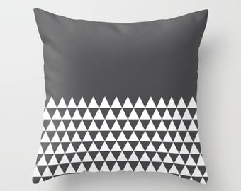 36 colours, Geometric Triangles Half Print Pattern Pillow, Charcoal black Geometric Cushion cover, Indoor or Outdoor pillow cover