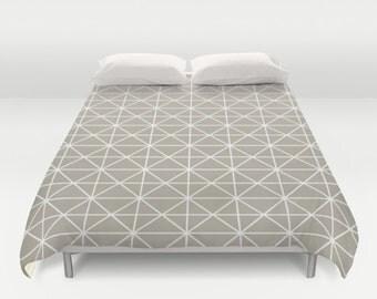 36 colours, Geometric Triangle Lines Duvet Cover, Scandi decor, Oyster beige, Nordic, double duvet, king duvet cover, queen duvet cover