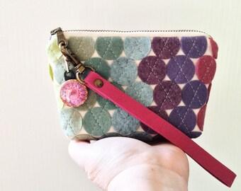 Felt Bag Mini Purse Purple Felt Clutch Wool Felt Wristlet Polka Dot Purse Felt Cosmetics Bag Zipper Clutch Zipper Pouch