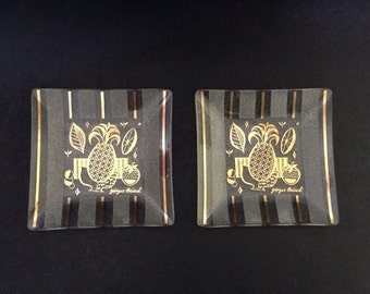 Vintage Georges Briard Small Plates, Set of 2, Stripes and Pineapple Design