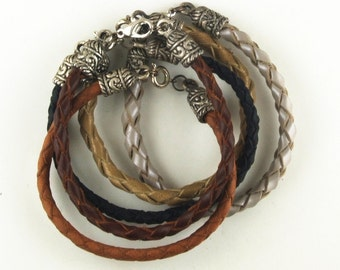 Braided leather bracelets 4 strand with ornate metal caps and clasp