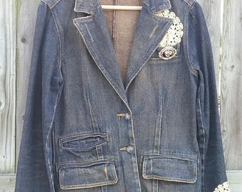 Upcycled Denim Jacket Blazer with Crocheted lace and Vintage Brooch