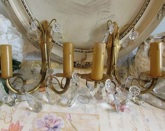 Beautiful pair of quality French sconce's, wall lights with glass droplets. Paris charm, cottage chic