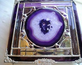 Stained Glass Jewelry Box|Stained Glass Box|Agate|White Quartz|OOAK|Jewelry|Jewelry Storage|Handcrafted|Made in USA