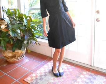 Vintage Westover dress wool black New York 1960's slim silhouette mid century union tag three quarter sleeves elegant: small