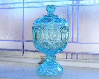 Blue Moon and Stars Glass Candy Dish Compote with Lid
