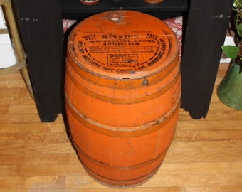 Large Mission Orange Soda Wood Barrel Vintage 1930s 24""