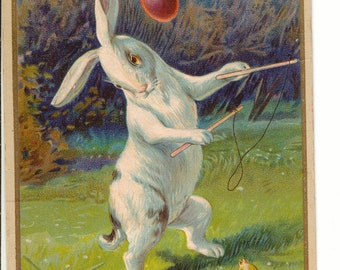 Vintage Easter Postcard, Rabbit Playing with Easter Chick, 1918