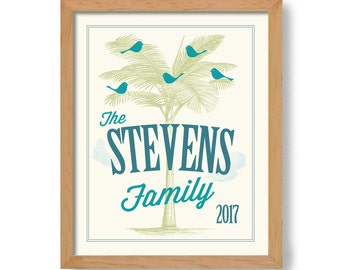 Family Tree Florida Home Family Name Sign Wedding Palm Tree Beach House Personalized Family Sign Tropical Gift For Newlyweds