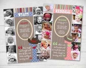 The First Year 1st Birthday Invitation Cowboyl Theme - Digital File