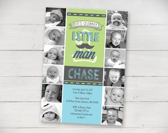 The First Year Little Man Invitation - Digital File