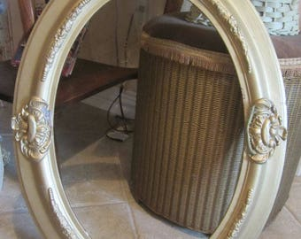 Vintage Gold Wooden Frame Oval Farmhouse Chic Prairie Shabby Chic