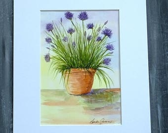 KITCHEN WATERCOLOR PAINTING - Terra Cotta Pot of Chives Original Watercolor, Chef Art, Cooking Decor, Purple Lavender Flowers, Pot of Herbs