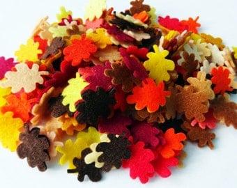 Felt leaves, felt shapes, felt die cut, felt crafts, confetti, appliques, tiny felt leaves, Small felt sheets, brown leaves, green leaves