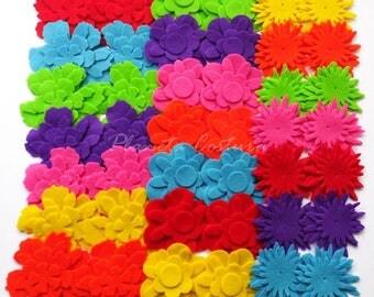 Felt flower Raimbow, set of 154 pieces, felt pack, felt die cut, felt flower, felt shapes