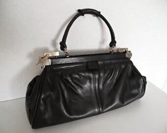 SALE :))) My Gorgeous Doctor's Bag . Genuine Leather Gladstone Bag HandBag Black 50s 60s Art Deco