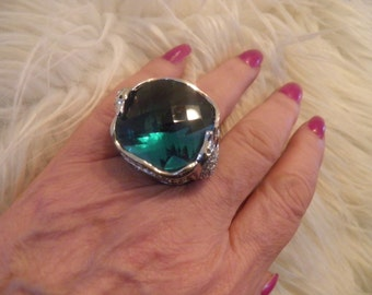 Huge Bold Man Made Diamond and Blue Topaz Dalphen Ring.  Such Amazing Workmanship.
