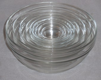 Duralex Nested Mixing Bowls with Banded Edge, Made in France