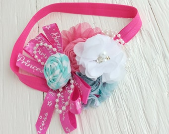 birthday headband baby girl headband toddler headband pink turquoise aqua blue headband flower headband matilda jane m2m flower