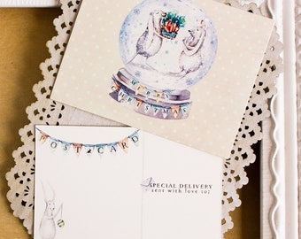 Bunny Snow Globe  holiday postcards - watercolor Christmas postcards - Rabbit Christmas Cards