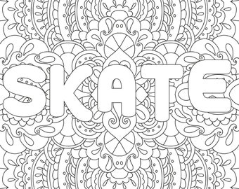 Printable Coloring Page Zentangle Figure Skating Book
