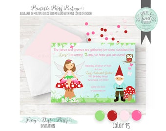 Fairy Invitation. Enchanted Forest Fairy & Gnome Birthday Party in pink, green and red. Includes Hair Color of Choice. We-print OR you-print