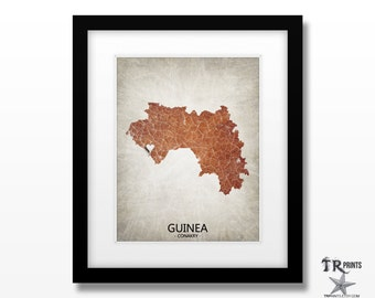 Guinea Africa Map Print - Home Is Where The Heart Is Love Map - Original Custom Map Art Print Available in Multiple Size and Color Options