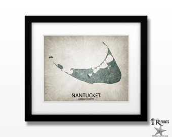 Nantucket Massachusetts Map Art Print - Home Is Where The Heart Is Love Map - Customizable Art Print Available in Multiple Sizes & Color