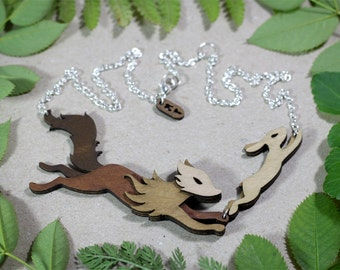 Fox and Hare necklace - Woodland Collection