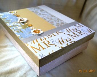 Silver, Gold, White Wedding Memory or Keepsake Box. Ideal gift for Bridal Shower, Engagement, Wedding, 1st Anniversary. Bride and Groom.