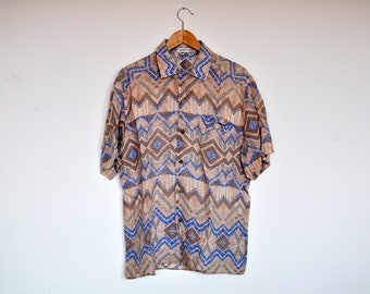 Vintage Abstract Print Short Sleeve Linen Button Up Patterned Geometric Aztec Shirt