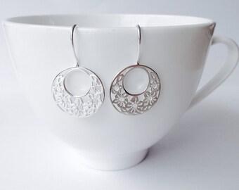 Flower wreath drop earrings - Sterling silver 925