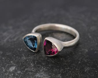 Blue Topaz Trillion Ring - Size 6.5 Ring - Rhodolite Garnet Trillion Ring - Blue Topaz Statement Ring - 2 Trillion Ring - Triangle Ring