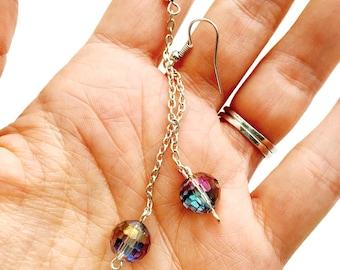 Iridescent Purple Faceted Bead Long Dangle Earrings