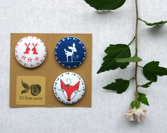 Fridge Magnets - Set of 3, Cute Woodland Critters, Fox, Bunny and Fawn - Fabric Button Magnet 38mm (1 1/2 inch)