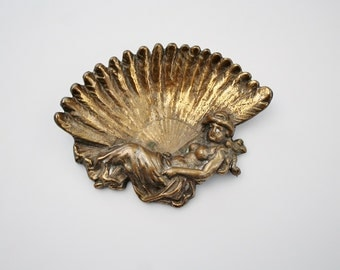 Vintage Brass Art Nouveau Woman Trinket Dish - Feather Fan Lady Ashtray - Ornate Lady in Dress Figural Brass Trinket Dish