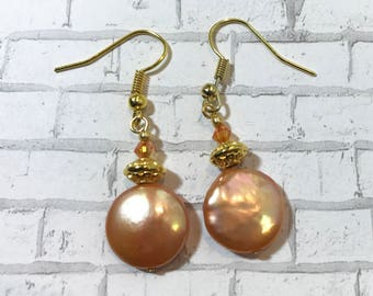Apricot Coin  Pearl Earrings