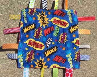 Superhero words Tag Blanket with your choice of Minky // In Stock, READY TO SHIP