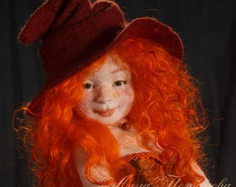 Witch Agnia, Needle felted doll, Art Doll, Autor doll, Collectible doll, Interior doll, Figurines, Sculpture, Handmade doll, OOAK doll