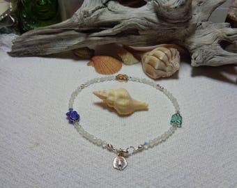 Anklet Tropical Moonstone with Fish & Sterling Silver Sanddollar Charm