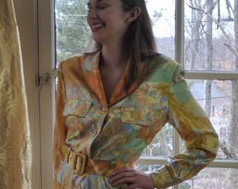 Luxe Painted Floral Silk Shirt Dress/Vintage 1970s/Designer Louis Feraud/Button Front Dress/Pastel Spring Palette/Size Small Medium